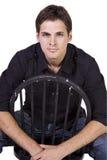 sitta för modell för stol som stiligt är stilfullt fotografering för bildbyråer