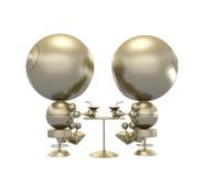 sitta för robotar för cafecoctailar guld- stock illustrationer