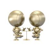 sitta för robotar för cafecoctailar guld- royaltyfri illustrationer