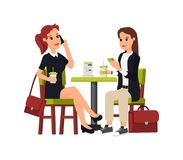 Sitta för två härligt affärskvinnor stock illustrationer