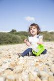 Sitta på ett Pebble Beach royaltyfria bilder
