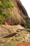Very nice hill with tree of sittanavasal cave temple complex. Sittanavasal is a small hamlet in Pudukkottai district of Tamil Nadu, India. It is known for the Stock Photo