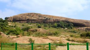 A beautiful hill of sittanavasal cave temple complex. Sittanavasal is a small hamlet in Pudukkottai district of Tamil Nadu, India. It is known for the Royalty Free Stock Images