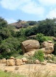 Hill rocks of sittanavasal cave temple complex. Sittanavasal is a small hamlet in Pudukkottai district of Tamil Nadu, India. It is known for the Sittanavasal Stock Images