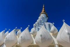 5 sittande Buddhastatyer Arkivbild