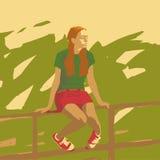 Sittande flicka royaltyfri illustrationer