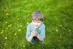 Sittande kasta f?r pojke upp nya valda blommor arkivbild