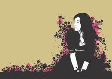 sittande kvinna royaltyfri illustrationer
