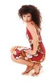 sittande kvinna för elegantt golv royaltyfri fotografi
