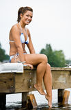 sittande kvinna för pir Royaltyfria Foton