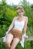 sittande kvinna för staket Royaltyfri Foto