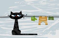 Sittande roligt svart katt och linne Royaltyfria Foton