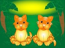 sittande tiger för gröngölingskog Arkivfoton