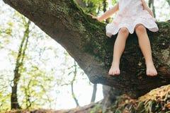 sittande tree för flicka fot fot Fotografering för Bildbyråer