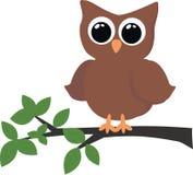 sittande tree för owl Arkivfoto