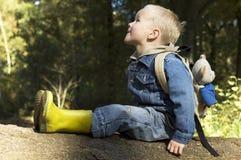 sittande tree för pojke Royaltyfri Fotografi