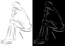 Sittande ung kvinna Arkivbild
