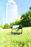 sitter den i stadens centrum parken för datoren royaltyfri bild