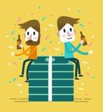 Sitter den lyckliga drinken för affärsman två och i storpack av dollar vektor illustrationer