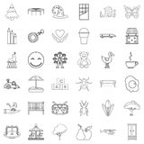 Sitter icons set, outline style. Sitter icons set. Outline set of 36 sitter vector icons for web isolated on white background Stock Photography