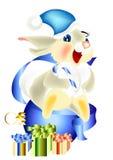 Sitter lyckliga hare för julkort på xmas-boll Royaltyfri Illustrationer