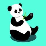 Sitter rymmer den gulliga pandan för vektorn och en bambufilial Royaltyfri Foto