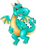 Sittig drôle de bande dessinée de dragon avec rire et onduler illustration libre de droits