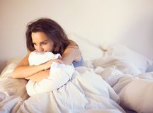 Sitting Alone on Bed Thinking of You Royalty Free Stock Images