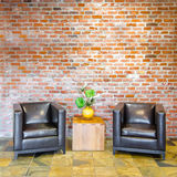 Sitting area against brick background. Detail of living room sitting area against brick background Stock Photos