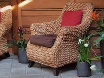 Sitting area with wicker chairs Royalty Free Stock Image