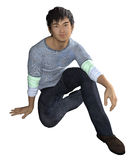 Sitting Asian Guy in casual wear. 3d render of a seated and smiling Asian guy Royalty Free Stock Photography