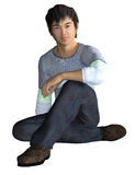 Sitting Asian Guy in casual wear. 3d render of a seated and smiling Asian guy Royalty Free Stock Image