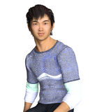 Sitting Asian Guy in casual wear. 3d render of a seated and smiling Asian guy Royalty Free Stock Photos