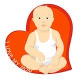Baby, toddler, kid, newborn, heart, sitting, breastfeeding vector illustration