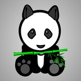 Sitting Baby Panda Bear Head With Bamboo Royalty Free Stock Images