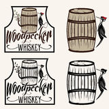 Sitting on the barrel whiskey labels set Royalty Free Stock Images