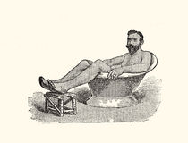 Sitting bath, vintage illustration. Healthcare and hygiene: bathing in the past, XIX century illustration Royalty Free Stock Photography