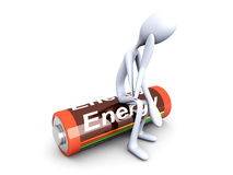 Sitting on a Battery. 3D rendered Illustration. Isolated on white Royalty Free Stock Images