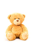 Sitting bear toy. Isolated on white Royalty Free Stock Photo