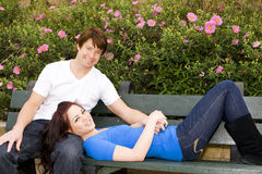 Sitting on a bench Royalty Free Stock Photography
