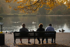 Sitting on a bench and enjoying a sunny day in Hyde Park, London Royalty Free Stock Photography