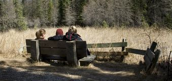 Sitting on a bench in forest. Three people sitting on a bench, and relaxing, early spring in forest.  A view from behind Royalty Free Stock Photography