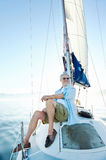 Sitting on boat man Royalty Free Stock Image