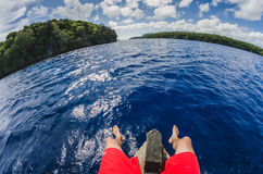 Sitting on a boat in tropocal islands Royalty Free Stock Photography