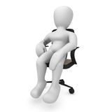 Sitting Borko. 3D image, a character sitting on office chair Royalty Free Stock Images