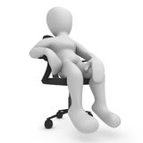 Sitting Borko. 3D image, a character sitting on office chair Stock Photography