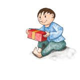 Sitting boy with a gift. Happy boy who is going to unwrap your gift Stock Photos