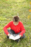 Sitting boy reading book on grass Royalty Free Stock Photography
