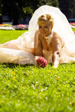 Sitting Bride. Beautiful bride sitting on a grass and looking at the camera Stock Photography