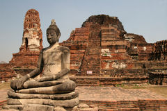 Sitting Buddha in ancient ruins. Of Ayuthaya, Thailand Royalty Free Stock Image